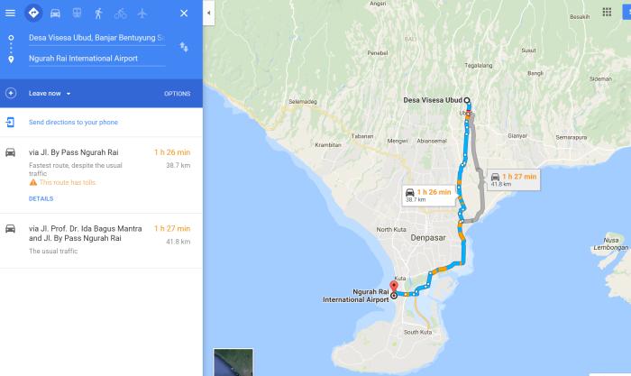 巴厘岛乌布皇宫郁金香维式酒店离机场大概有多少公里