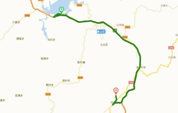 从太平湖景区到黄山风景区南大门:驾车途经:s103,京台高速公路,约61.