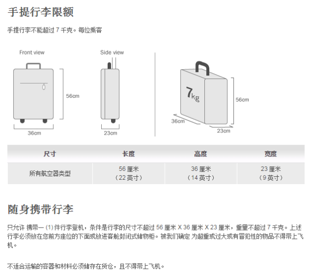 托运行李额度和7kg的免费手提行李额度(手提行李尺寸
