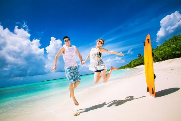马尔代夫神仙珊瑚岛旅拍摄影婚纱照>赠送产品包邮,摄影团队常驻岛屿