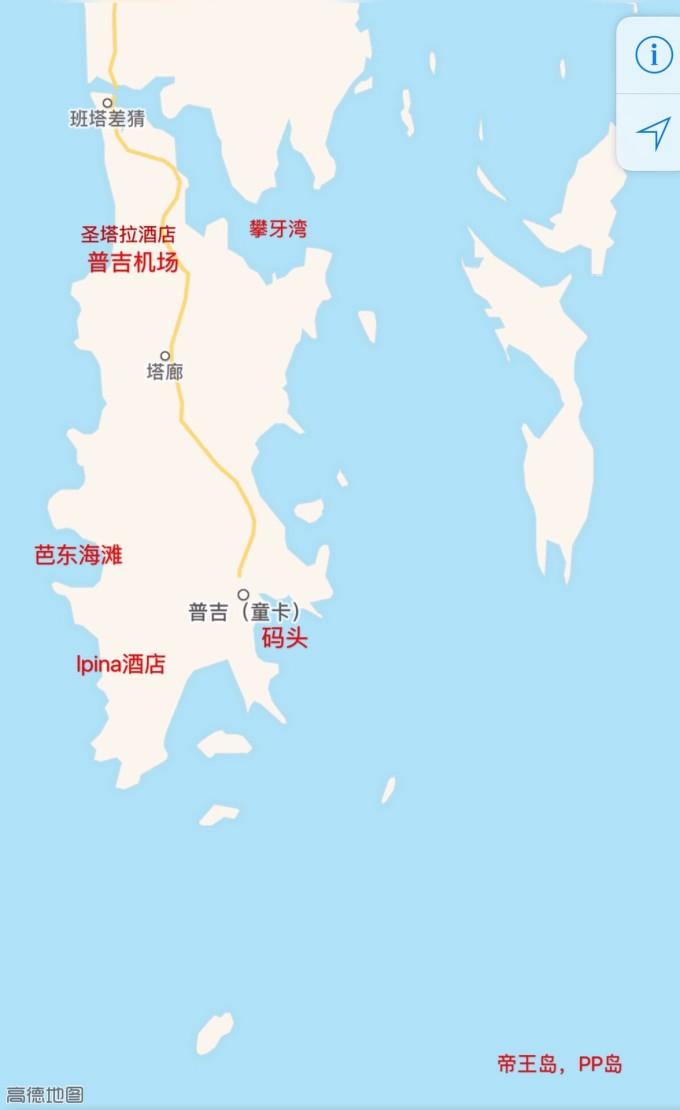 普吉岛交通图  绕岛有一条环线,东侧的是主线,西侧有一段是陡峭的